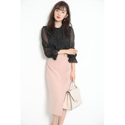 【ジャスグリッティー】 麻調サイドデザインタイトスカート レディース ピンク 0 JUSGLITTY