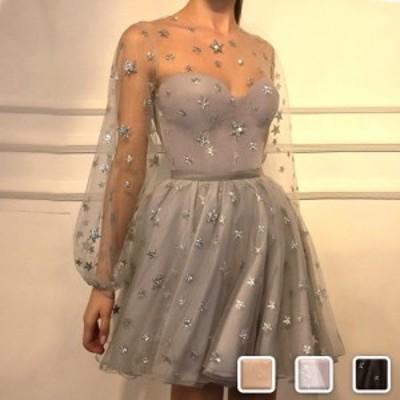 ミニワンピ ドレス レディース 透け 星 スター ワンピ ワンピース Aライン