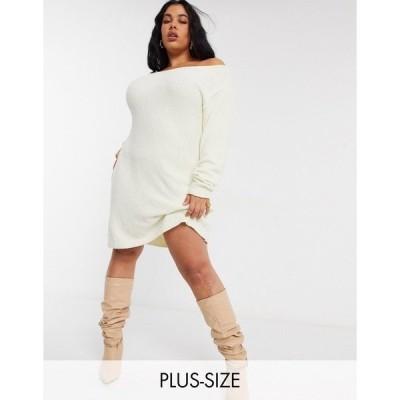 イン ザ スタイル プラス レディース ワンピース トップス In The Style Plus x Billie Faiers off shoulder sweater dress in white White