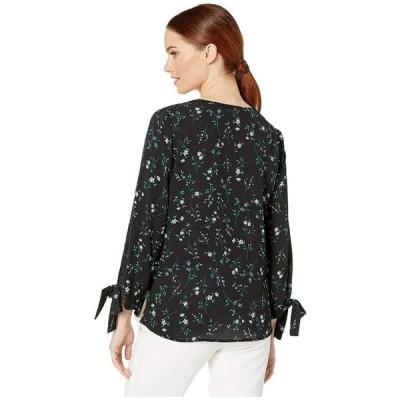 ユニセックス 衣類 トップス CeCe 3/4 Sleeve Tossed Floral Blouse with Tie Sleeves Rich Black ブラウス&シャツ