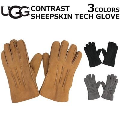 UGG アグ CONTRAST SHEEPSKIN TECH GLOVE コントラスト シープスキン テック グローブ 手袋 スマホ対応 スマホ タッチパネル対応 撥水加工 メンズ  18712