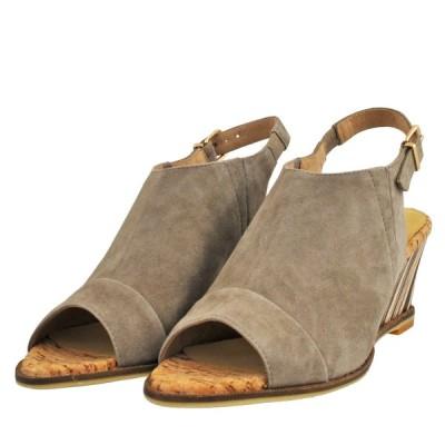 レディース 靴 サンダル オープントゥ モードエジャコモ マニュ ウェッジソール カバードサンダル 送料無料 グレースエード MNHX84099GYS