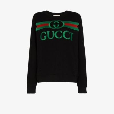 グッチ Gucci レディース スウェット・トレーナー トップス embroidered logo sweatshirt black