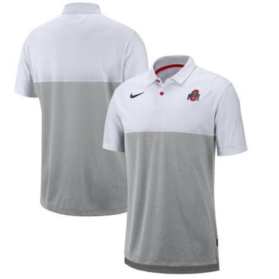 メンズ スポーツリーグ アメリカ大学スポーツ Nike Men's Ohio State Buckeyes White/Gray Dri-FIT Breathe Football Sideline Polo
