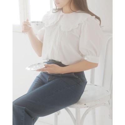 イング INGNI BIGフリル衿/5分袖BL (オフホワイト)