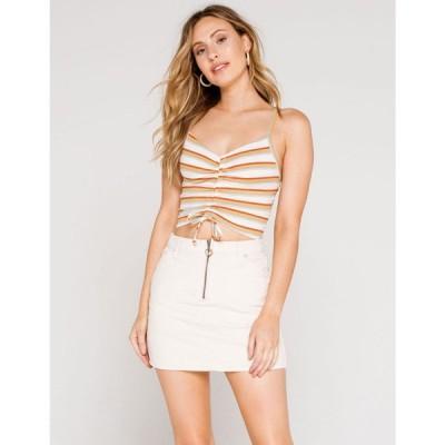 スカイアンドスパロウ SKY AND SPARROW レディース ミニスカート スカート Half Zip Corduroy Ecru Mini Skirt ECRU