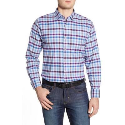 トッミーバハマ メンズ シャツ トップス Classic Fit Plaid Button-Up Shirt LT SKY