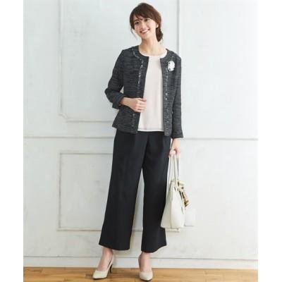 【プチプラ】ツイード調ノーカラージャケットパンツスーツ【入園。入学。卒園。卒業】 セレモニースーツ(式服・受験・七五三・発表会)women's suits, plus size women's suits