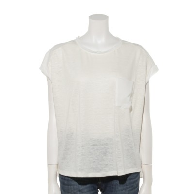 INTERPLANET (インタープラネット) レディース 麻*異素材切替Tシャツ オフホワイト M