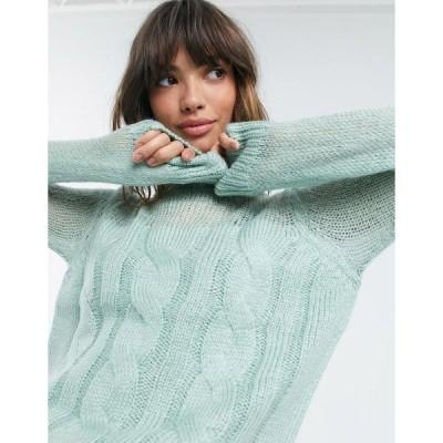 ファッションモンキー レディース ニット&セーター アウター Fashion Union sweater in chunky cable knit with sheer panel Green