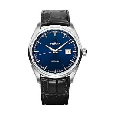 Eterna Men's 1948 Legacy 41.5mm Black Leather Band Steel Case Automatic Blue Dial Watch 2951-41-80-1322 並行輸入品