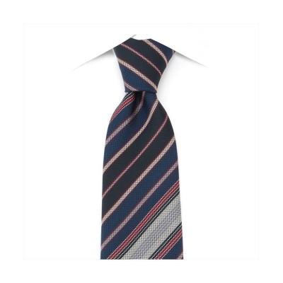 (TOKYO SHIRTS/トーキョーシャツ)ネクタイ / ビジネス / フォーマル / 絹100% ネイビー系 ストライプ柄/メンズ ブルー