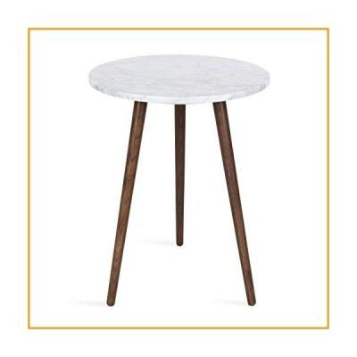 [新品]Kate and Laurel Byars Modern Round Tripod Side Table   Walnut Brown Wooden Legs and White Marble Top[並行輸入品]