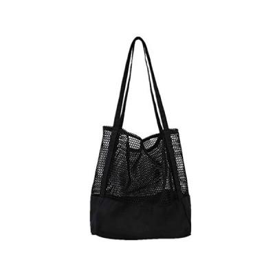 ネットバッグ メッシュバッグ 黒 白 トートバッグ あみバッグ レディース キャンバスバッグ ハンドバック 巾着 ナチュラル 大容量 軽量