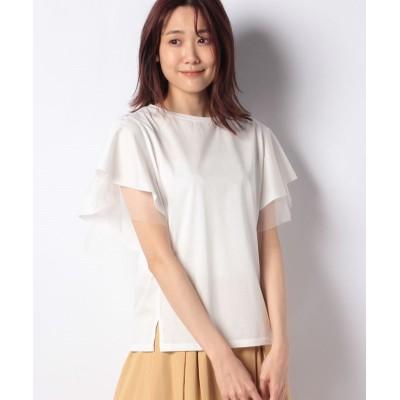 【キュー】 チュールフレア袖Tシャツ レディース オフホワイト 38 Q