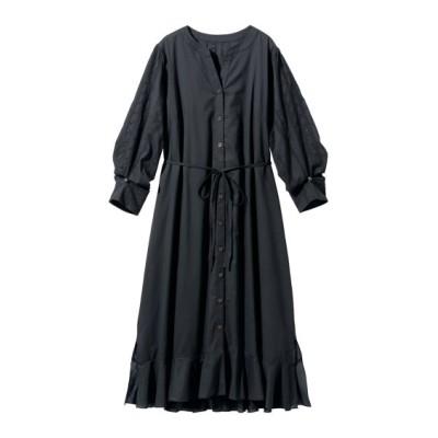 【大きいサイズ】 綿100%袖刺しゅうロング丈ワンピース(ペチスカート付) ワンピース, plus size dress