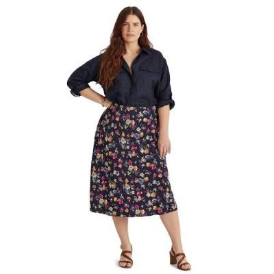 ラルフローレン スカート ボトムス レディース Plus Size Floral Print Skirt French Navy Multi