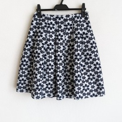 エムズグレイシー M'S GRACY スカート サイズ38 M レディース 美品 - 白×ダークネイビー ひざ丈/花柄【中古】20210614