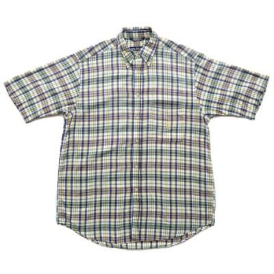 90年代 nautica オールドノーティカ チェック柄 半袖 ボタンシャツ サイズ表記:L