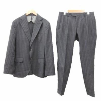 【中古】美品 サンタニエッロ  スーツ ジャケット パンツ セットアップ ストライプ イタリア製 48 Mサイズ グレー