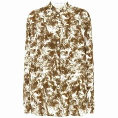 ヴィクトリア ベッカム Victoria Beckham レディース ブラウス・シャツ トップス Printed jersey grandad shirt sand white