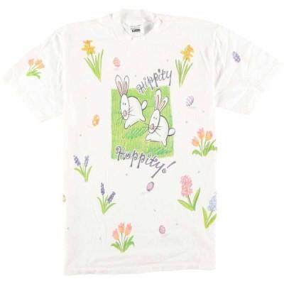 90年代 アニマルプリントTシャツ USA製 レディースL /eaa068981