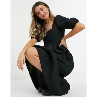 ニュールック レディース ワンピース トップス New Look square neck crinkle midi smock dress in black