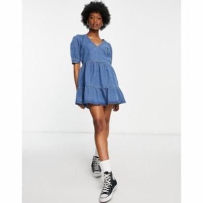 ミス セルフリッジ Miss Selfridge レディース ワンピース デニム ワンピース・ドレス denim tierred dress in mid wash ブルー