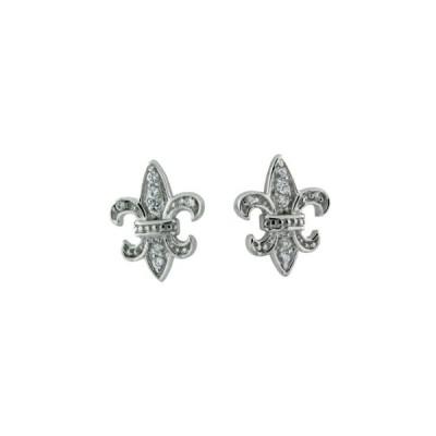 スターリング シルバー CZ フルール De リス Post Earring(海外取寄せ品)