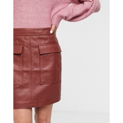セレクティッド レディース スカート ボトムス Selected Femme leather mini skirt with pocket detail in red