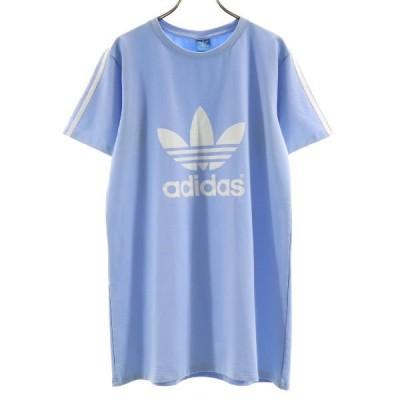 美品 アディダス ロング丈 袖3ストライプ プリント 半袖 Tシャツ 水色 adidas メンズ 古着 210424 メール便可