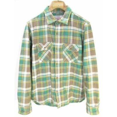 【中古】アヴィレックス AVIREX ネルシャツ シャツ 長袖 チェック 柄 コットン 綿100% M グリーン 緑 【QW】 メンズ