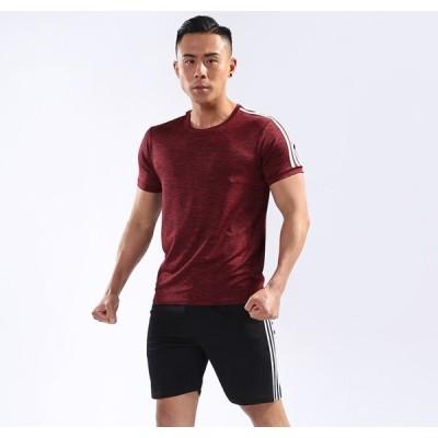 コンプレッションウェア メンズ 半袖 シャツ ハーフパンツ 上下 2点セット 軽量 通気 スポーツウェア レッド XL