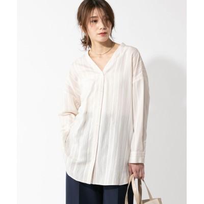 【WEB限定・手洗い可】オルタネードストライプノーカラーシャツ
