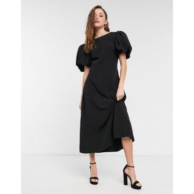 ネイキッド ミディドレス レディース NA-KD open back puff sleeve midi dress in black エイソス ASOS ブラック 黒