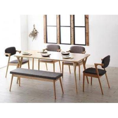 ダイニングテーブルセット 6人用 椅子 ベンチ おしゃれ 安い 北欧 食卓 6点 ( 机+チェア4+長椅子1 ) 幅170 デザイナーズ クール スタイリ