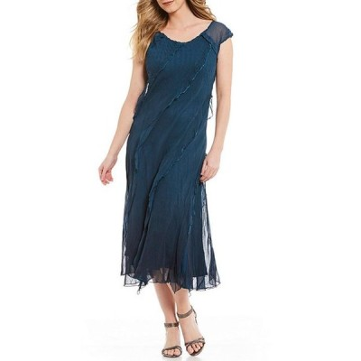 コマロフ レディース ワンピース トップス Merrow Stitch Detail Ruffle Charmeuse Chiffon Cap Sleeve Midi Dress