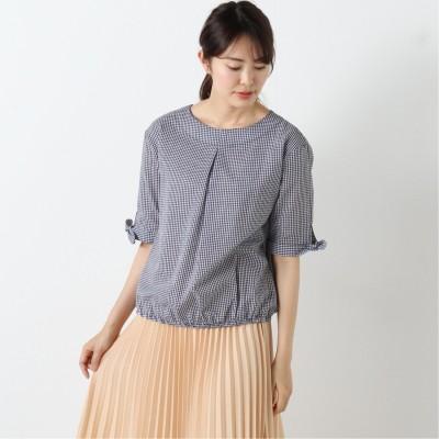 柔らかな綿100%フランス綾素材の袖と裾リボンブラウス