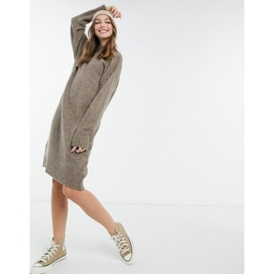 ニュールック レディース ワンピース トップス New Look high neck knitted midi dress in mink Mink
