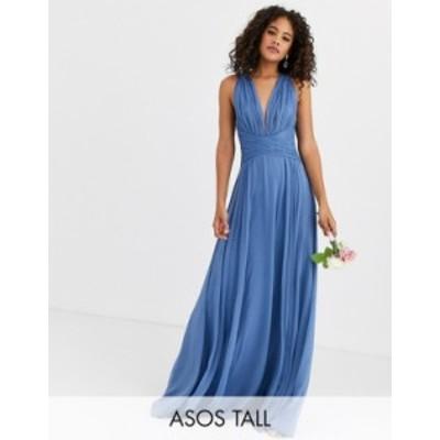 エイソス レディース ワンピース トップス ASOS DESIGN Tall Bridesmaid ruched bodice drape maxi dress with wrap waist BLUE