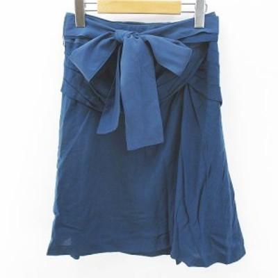 【中古】未使用品 ビアッジョブルー Viaggio Blu 膝丈 フレアスカート 1 青系 ブルー 日本製 リボン 毛 ウール 裏地
