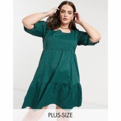 グラマラス Glamorous Curve レディース ワンピース ティアードドレス ワンピース・ドレス tiered smock dress with tie back in green c