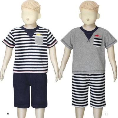 男児  半袖 Tシャツ  ハーフパンツ  上下組  パジャマ  パイル地  胸ポケ付  100cm 110cm 120cm 5312970