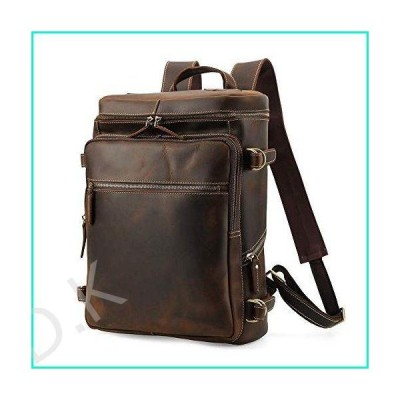 Lannsyne R-Series Men's Vintage Genuine Leather 15.6 Inch Laptop Backpack Hiking Overnight Weekender Camping Daypack Duffle Bag