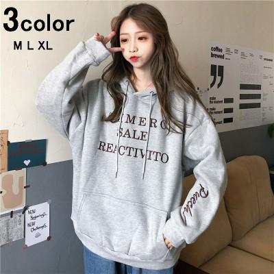 オーバーサイズ パーカー ビックシルエット レディース パーカー 韓国ファッション BF ボイフレンド風 ゆったり 英字 刺繍 カジュアル ガーリー 女の子 ネイビー グレー パープル M L XL