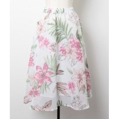 レディース スカート フレアスカート FREE ピンク/イエロー 花柄 レトロ