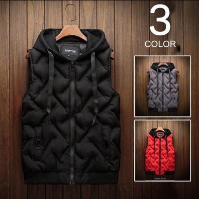 おしゃれ 中綿ベスト メンズ ベスト ダウンベスト アウター フード付き 軽量 無地 ベストジャケット 暖かい 秋冬 中綿入り