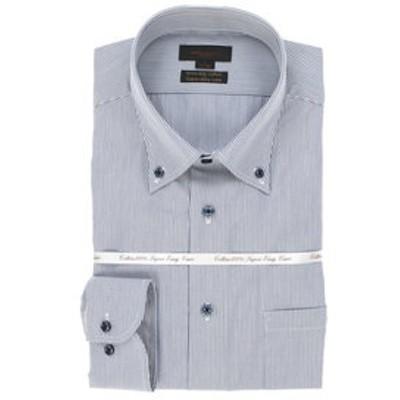 綿100% 形態安定 スリムフィットボタンダウン長袖SHUTOビジネスドレスシャツ/ワイシャツ