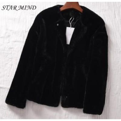 【送料無料】ファー ブルゾン ショート ジャケット アウター エコ 丸首 韓国 もこもこ フェイクファー 韓国ファッション ブラック ワント