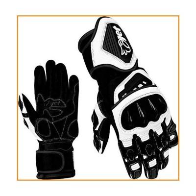 JET バイク用グローブ プレミアム フルレザー ガントレット レース ハードナックルグローブ M ブラック Leather【